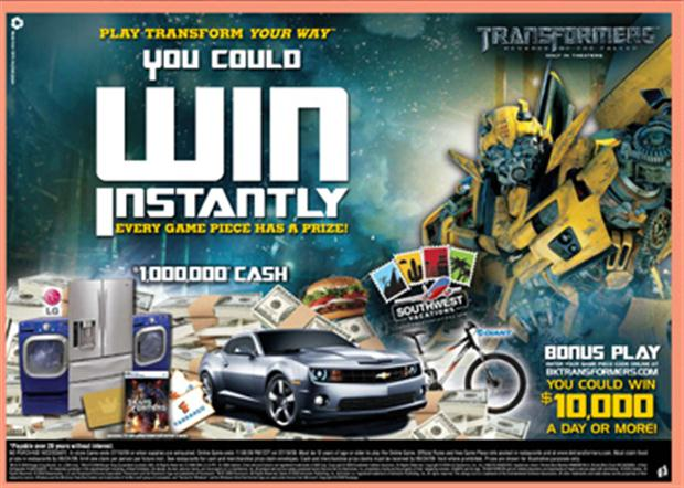 "Transformers Dark of The Moon Burger King Burger King® ""transform Your"